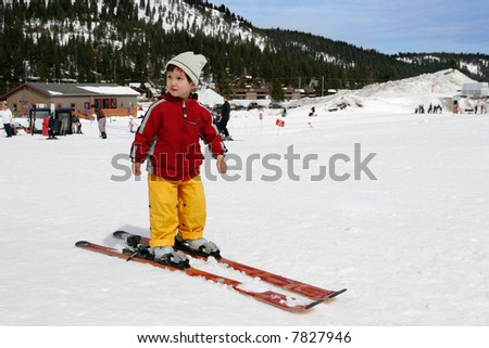 Three years old little boy ready to ski