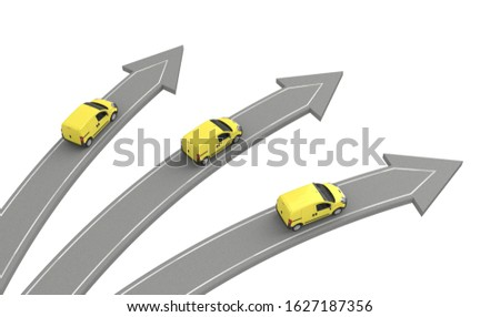 three yellow vans go in different directions isolated on white above view. 3d rendering
