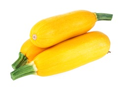 Three yellow zucchini isolated on a white background. Yellow courgettes. Yellow squash.