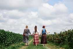 Three young hippie women, wearing boho style clothes, standing with backs to camera on green currant field in summer. Eco tourism concept. Friends traveling in rural countryside.
