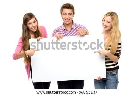 Three young people holding blank poster