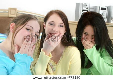 stock photo three young teen girls in pajamas sitting in bed laughing 973150 (I'm also blogging about getting to the point in an erotic romance and ...