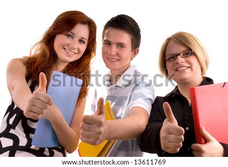 three young teenagers giving the thumbs-up sign