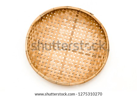 threshing basket handmade from bamboo at thailand. Wood Serving Tray, Kitchen Wooden Tray, for dried food