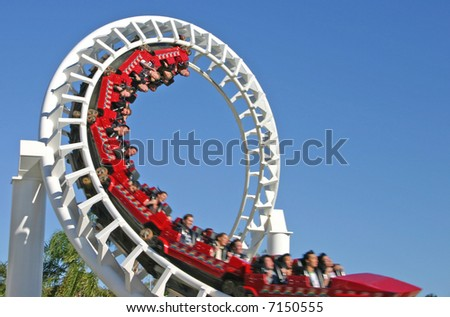 Thrills for riders of the roller coaster.