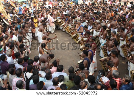 THRISSUR, INDIA - APRIL 24 : Playing of Percussion and wind instruments in Pooram Festival April 24, 2010 in Thrissur, Kerala, India.