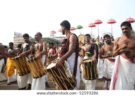 THRISSUR, INDIA - APRIL 24 : Playing of Percussion instruments in Thrissur Pooram Festival April 24, 2010 in Thrissur, Kerala, India.