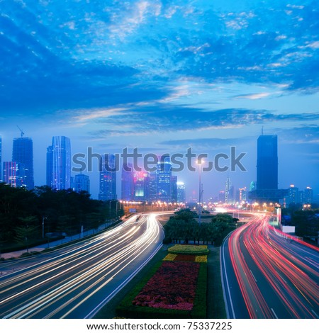 Through the city's roads and slow shutter running car
