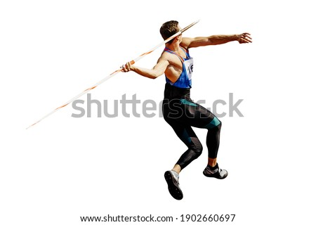 thrower athlete in javelin throw isolated on white background Photo stock ©