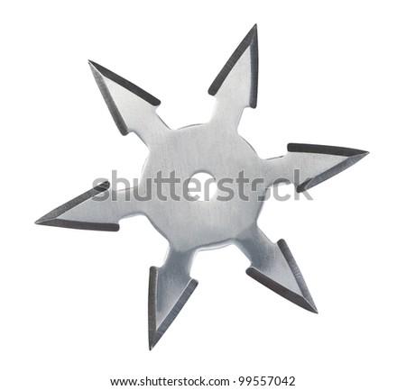 Throwing star ninja Shuriken isolated on white background.