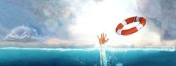 Thrown life buoy saving drowning person.