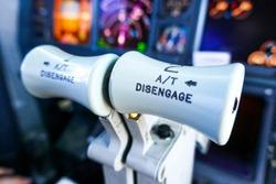 Thrust levers airplane on closeup