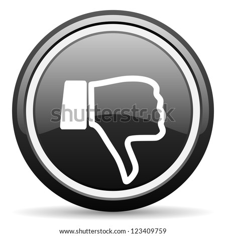 thumb down black glossy icon on white background