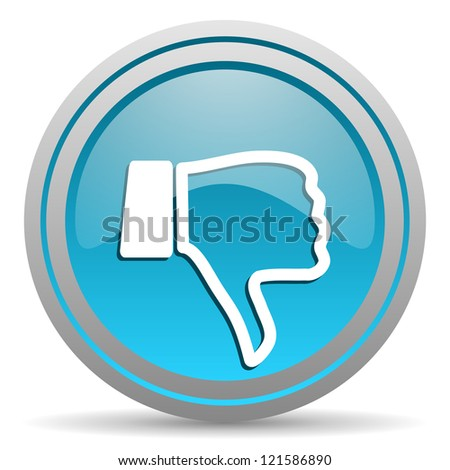 thumb down blue glossy icon on white background