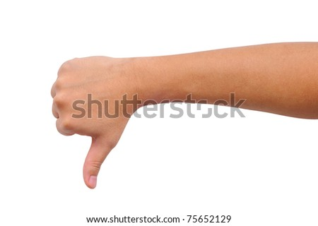 Thumb down hand sign isolated on white