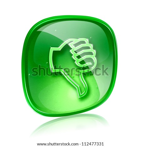 thumb down icon green glass, isolated on white background.
