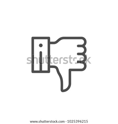 Thumb down line icon isolated on white