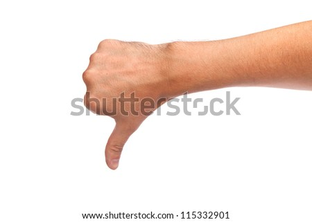 Thumb down male hand sign isolated on a white background
