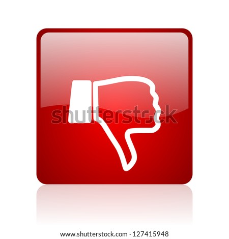 thumb down red square glossy web icon on white background