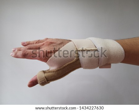 Thumb orthosis or stabilizer (Thumb Spica splint) is a medical brace used to immobilize and support wrist and thumb for treatment of injury as fracture,  ligament instability and sprain.