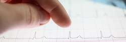 Thumb over tablet with heart cardiogram image