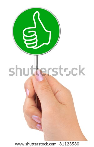 Thumb sign in hand isolated on white background