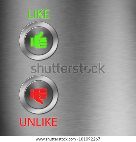 Thumb up and down metallic button with space - stock photo