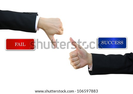 Thumb up and thumb down business man hand signs for success and fail
