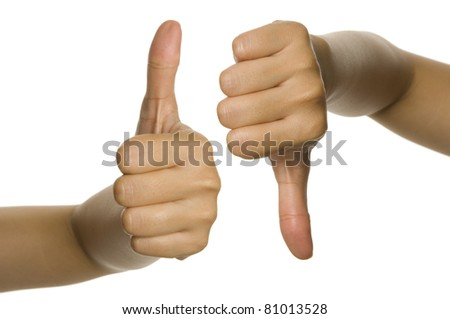 Thumb up and thumb down of woman hand. Isolated over white background