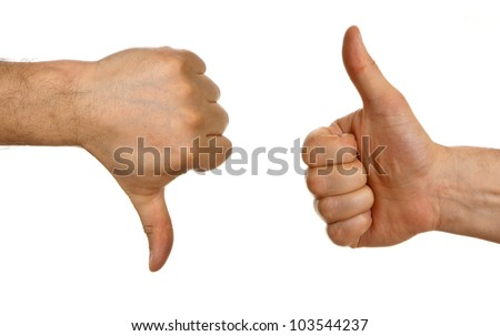 Thumb up and thumb down  sign isolated on white background