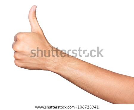 Thumb up. Closeup of man's hand with thumb up expressing success