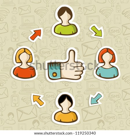 Thumb up friendship social media diagram over seamless pattern background.