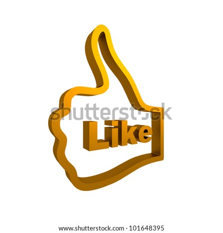Thumb up hand illustration with like text. Isolated on white.