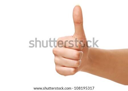 Thumb up isolated on white background - stock photo