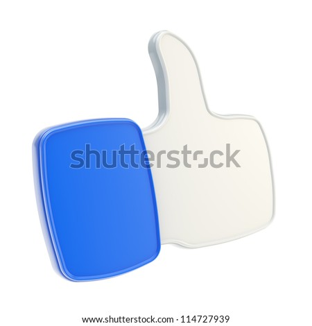 Thumb up like glossy plastic dimensional blue icon isolated on white background