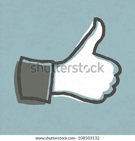 "Thumb up ""like"" hand symbol. Raster version. - stock photo"