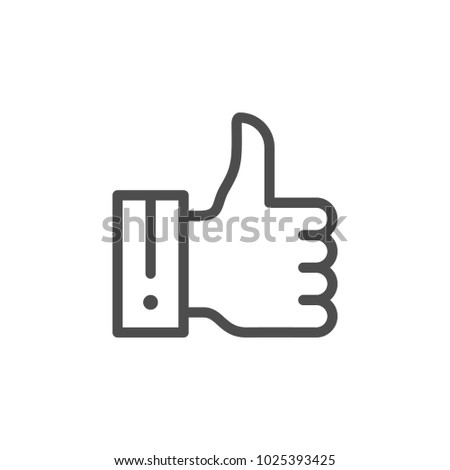 Thumb up line icon isolated on white
