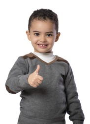 Thumb Up Little Happy Boy Isolated on White Background