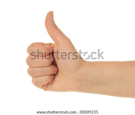 Thumb up on a white background.