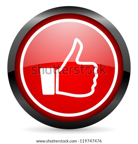 thumb up round red glossy icon on white background