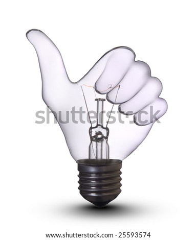Thumb Up Sign Gesture Hand lamp bulb. Lightbulb Concept of Business Success, Saving Energy and Ecology Environment