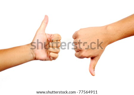 Thumbs up and down in isolated white background