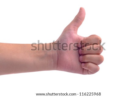 Thumbs up boy hand isolated on white background