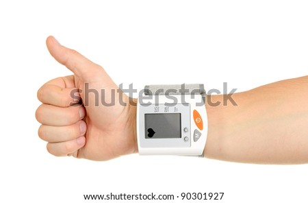 Thumbs Up for Healthy Blood Pressure isolated on white background