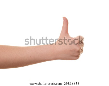thumbs up gesture isolated over white