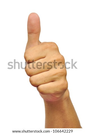 Thumbs up sign isolated on white.