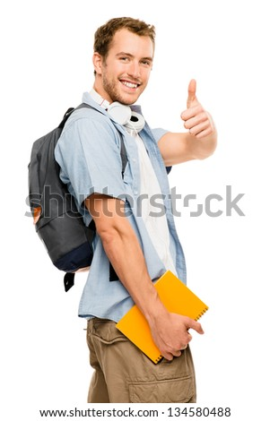 thumbs up student happy man