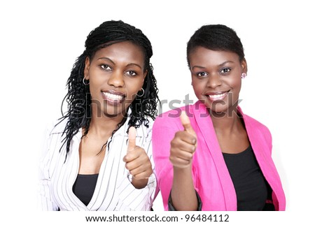 Thumbs up - two smiling women