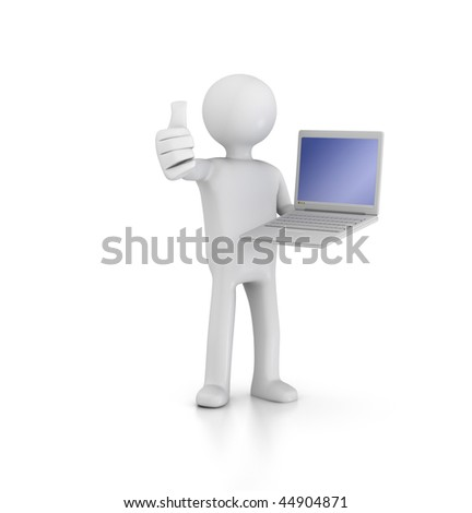 Thumbs up with Laptop