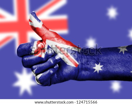 Thumbs up, wrapped in the flag of Australia